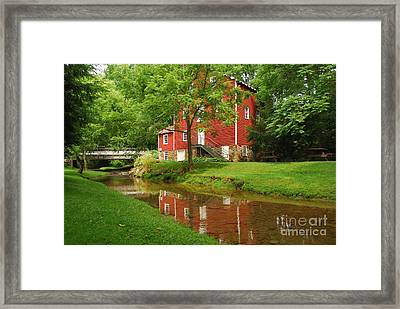 Framed Print featuring the photograph Wallace Cross Grist Mill Reflections by Bob Sample