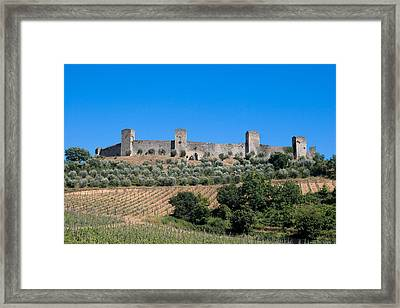 Walled Village Of Monteriggioni Chianti Tuscany Italy Framed Print by Mathew Lodge
