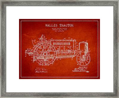 Wallis Tractor Patent Drawing From 1916 - Red Framed Print by Aged Pixel