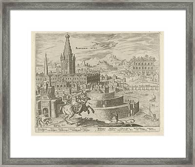 Walls Of Babylon, Philips Galle, Hadrianus Junius Framed Print by Philips Galle And Hadrianus Junius