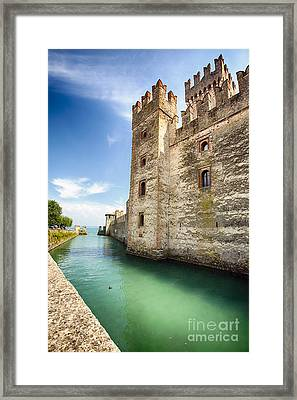 Walls Of Scaliger Castle Framed Print by George Oze