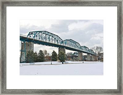 Walnut Street Bridge In The Snow Framed Print by Tom and Pat Cory