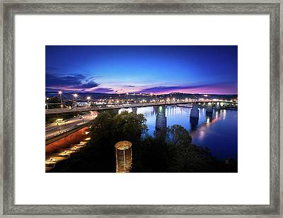 Walnut Street Walking Bridge Bluff View Framed Print by Steven Llorca