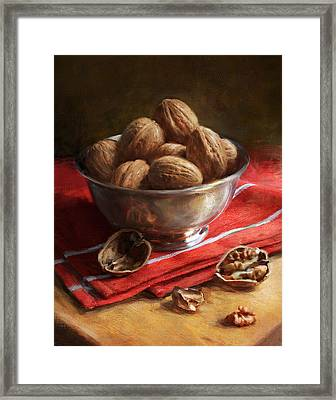 Walnuts On Red Framed Print