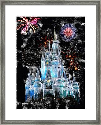 Walt Disney World Frosty Holiday Castle Framed Print by Thomas Woolworth