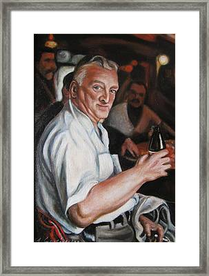 Walter At Eddies Bar Framed Print by Melinda Saminski