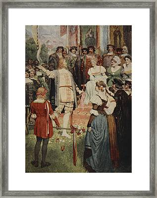 Walter Began His Song, From The Stories Framed Print by Ferdinand Leeke