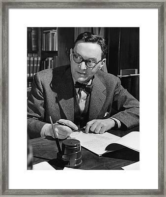 Walter Lippmann Writing At A Desk Framed Print