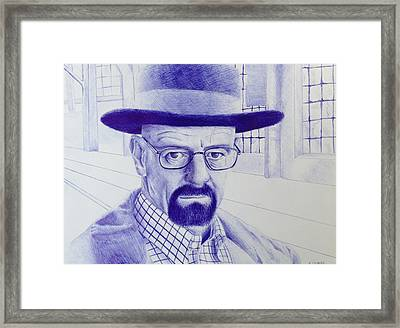 Walter White Pen Drawing From Breaking Bad Framed Print by Kyle Calandra