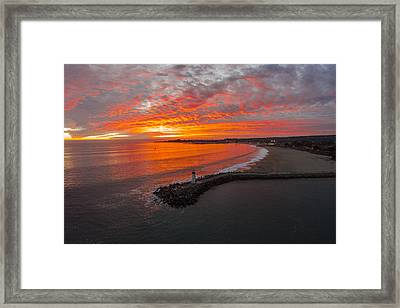 Walton Lighthouse Ablaze Framed Print by David Levy