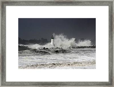 Walton Lighthouse Takes A Beating Framed Print