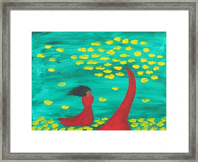 Wandering Woman In The Wind Framed Print