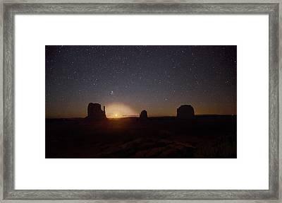 Waning Crescent Moonrise Monument Valley Framed Print