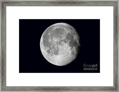 Waning Moon And Lunar Landscape Framed Print by John Chumack