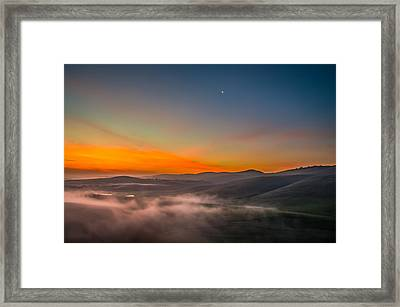 Waning Moon At Sunrise Framed Print by Marc Crumpler