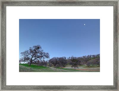 Waning Moon Over Round Valley Framed Print by Marc Crumpler