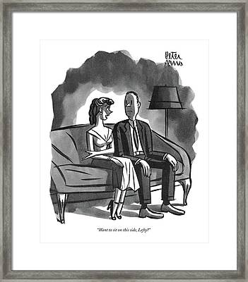 Want To Sit On This Side Framed Print by Peter Arno