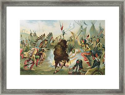 War Dance Of The Sioux, From The History Of Mankind By Prof. Friedrich Ratzel, Pub. In 1904 Litho Framed Print by Rudolf Cronau
