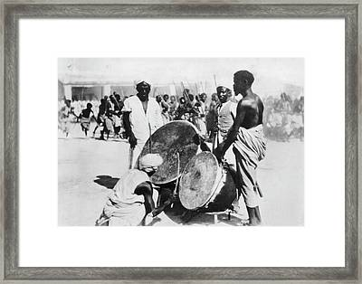 War Drums In Ethopia Framed Print by Underwood Archives