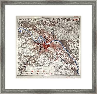 War Map Of Dresden Framed Print by British Library