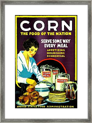 War Poster - Ww2 - Corn Framed Print by Benjamin Yeager