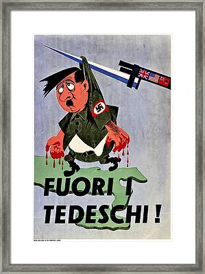 War Poster - Ww2 - Out With The Fuhrer Framed Print by Benjamin Yeager