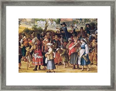 War Scene Oil On Panel Detail Of 242453 Framed Print by Sebastian Vrancx