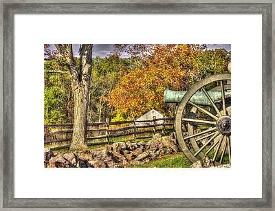 War Thunder - 3rd Massachusetts Light Artillery Battery C - J. Weikert Farm Autumn Gettysburg Framed Print by Michael Mazaika