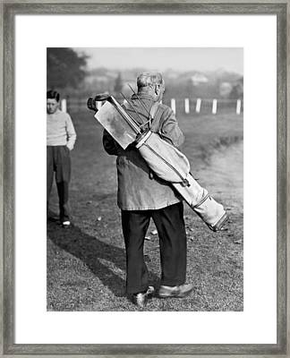 War Time On The Golf Course Framed Print by Underwood Archives