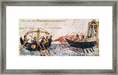 Warfare Greek Fire Framed Print