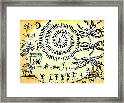 Warli Day Framed Print by Anjali Vaidya