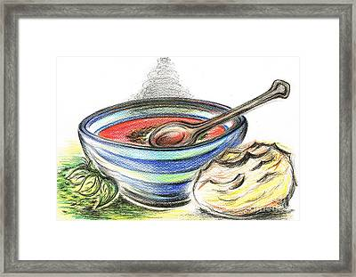 Warm Bowl Of Tomato Soup Framed Print by Teresa White