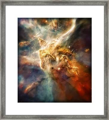 Warm Carina Nebula Pillar 3 Framed Print by Jennifer Rondinelli Reilly - Fine Art Photography