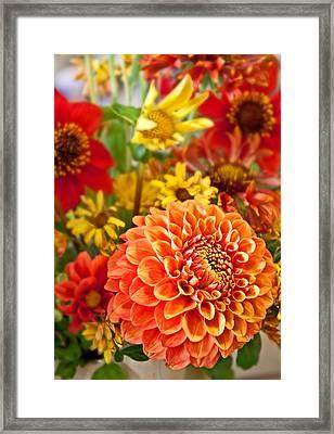 Warm Colored Flower Bouquet With Round Dahlia Framed Print by Valerie Garner