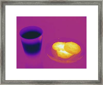 Warm Cookies And Cold Milk, Thermogram Framed Print by Science Stock Photography