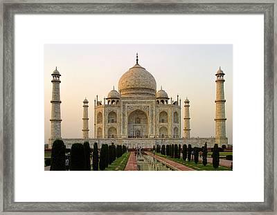 Warm Evening View Taj Mahal Framed Print by Linda Phelps