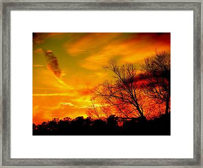 Warm Winter Sunset  Framed Print by Walter  Holland