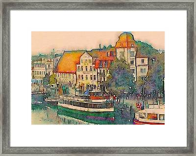 Framed Print featuring the photograph Warnemunde In Watercolor by Susan Maxwell Schmidt