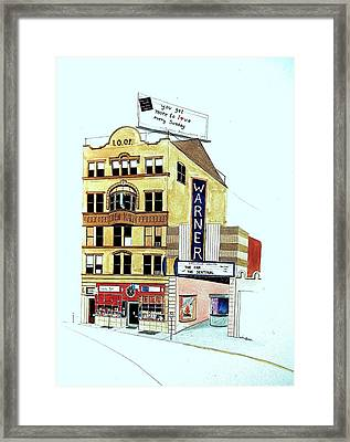 Framed Print featuring the painting Warner Theater by William Renzulli