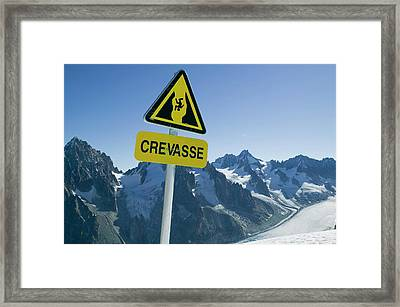 Warning Sign Above Mer Du Glace Framed Print by Ashley Cooper