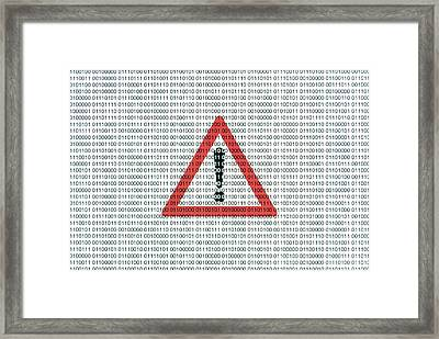 Warning Sign And Binary Code Framed Print by Daniel Sambraus