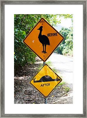 Warning Sign At The Roadside, Cape Framed Print
