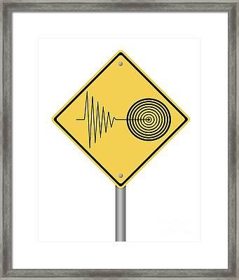 Warning Sign Tremor Framed Print