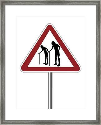 Warning Sign With Elderly People Symbol Framed Print