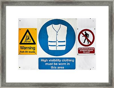 Warning Signs Framed Print