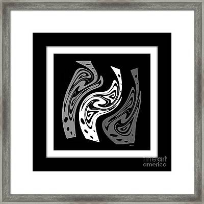 Warped Abstract In Black And White Framed Print