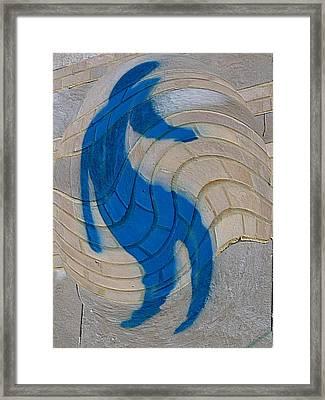Warped Graffiti Man Blue Framed Print