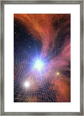 Warped Space Time Grid Framed Print