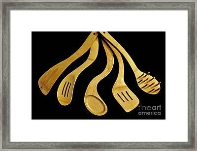 Warped Wooden Kitchen Utencils Framed Print by Tikvah's Hope