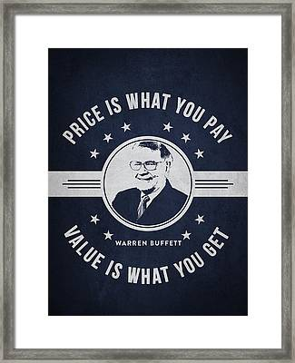 Warren Buffet - Navy Blue Framed Print